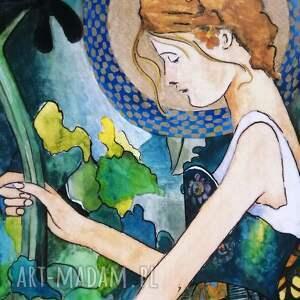 obraz anioł w ogrodzie, anioł, secesja, akwarela