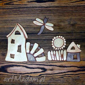 rustykalna wioska - obrazek ceramiczny na magnes, obrazek, rustykalny, folk, ozdoba