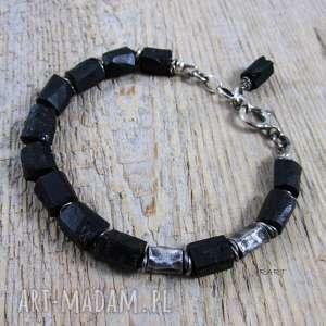 Czarny turmalin z gniecionymi walcami, srebro, surowa, turmalin, bransoletka