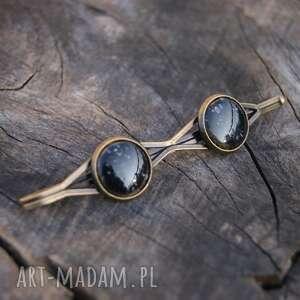 biżuteria wsuwka do włosów dwa oczka - czarna, wsuwka, spinka włosów, czarna
