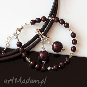 Maroony - komplet, perły, swarovski, kryształy, srebro, elegancki, komplet
