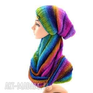 kolorowy komplet - czapka i komin, komplet, czapka, jesienny, wiosenny