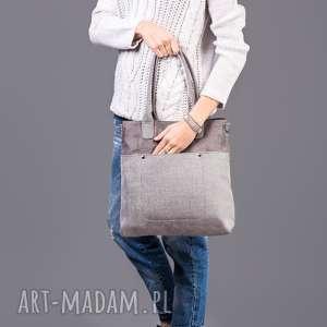 handmade na ramię fiella - duża torba szara plecionka