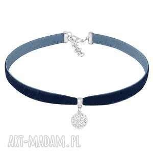 choker - navy blue velvet, aksamitka, choker, moneta, zawieszka biżuteria