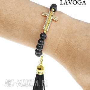 cross & tassel in black - bransoletka, cyrkonie, koraliki, chwost, modna