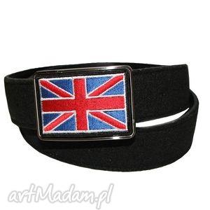 Haftowana klamra wzorem brytyjskiej flagi - pasek filcowo-skórzany, pasek, skóra