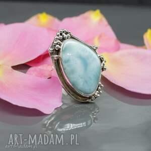 Ocean blue - pierścionek z larimarem, pierścionek, larimar, srebro, regulowany, duży