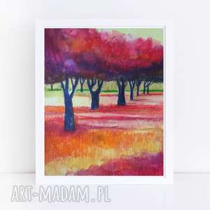 kolorowy sad - akwarela formatu 18/24 cm, akwarela, kolorowy, farba, sad, papier