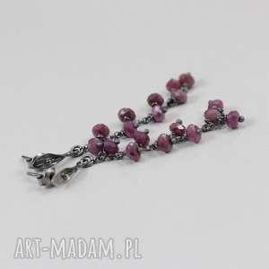 rubin i srebro - kolczyki gronka 2673, rubin, srebro, kolczyki, sztyfty, grona