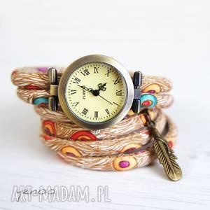 zegarek, bransoletka - piórko, pawie pióra owijany