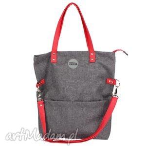 na ramię torba damska cube city red, szara, prezent, handmade, manamana, elegancka