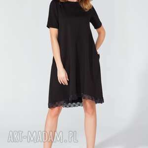 sukienka midi z koronką t107 kolor czarny - tessita, sukienka, midi, trapezowa