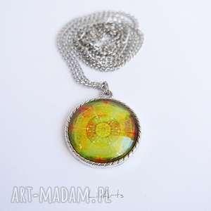 liliarts medalion, naszyjnik - mandala dobrego nastroju zdobiona, 3 cm