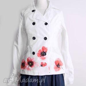 kurtka wiosenna malowana ręcznie kwiaty - kurtka, malowanaręcznie, kwiaty