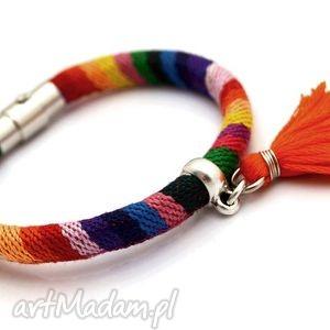 bransoletki bransoletka magnetoos boho rainbow minimal, tkanina, chwościk