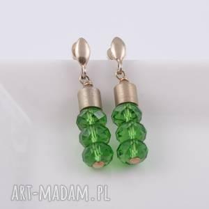 Zielone kolczyki Swarovski - ,kolczyki,pozłacane,srebro,swarovski,