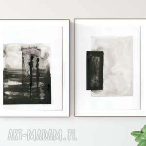 dekoracje zestaw 2 grafik a4 wykonanych ręcznie, abstrakcja, elegancki