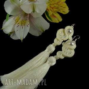 hand-made ślub subtelne długie, delikatne kolczyki dla panny młodej w stylu boho