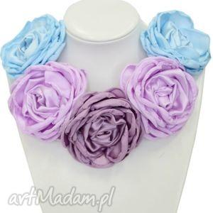 broszki kwiatowa kolia - model 09 pastele, kolia, broszki, naszyjnik