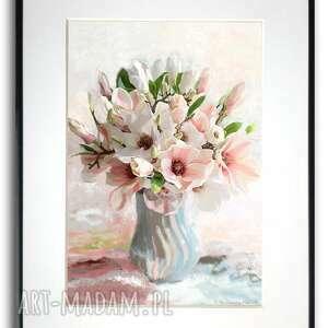 grafika w ramie magnolie wazonie 30x40, magnolie, kwiaty, kwiaty