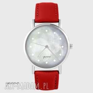 ręcznie robione zegarki zegarek - szary czerwony, skórzany