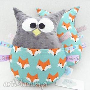 handmade zabawki minky sowa z metkami - przytulanka sensoryczna lisy charcoal