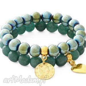 green hematite patina jade with pendants, jadeit, hematyt, serce, moneta