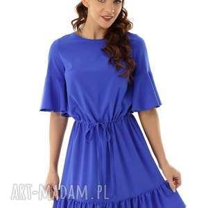 hand-made sukienki luźna sukienka z wiązaniem i falbaną chabrowa