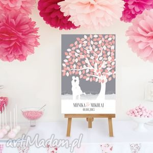 Drzewo wpisów zakochanej pary 50x70 cm, księga, gości, ślub, wesele,