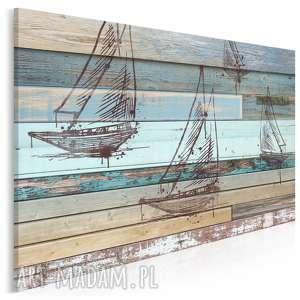 obraz na płótnie - żaglówka deski shabby chic 120x80 cm (72501)