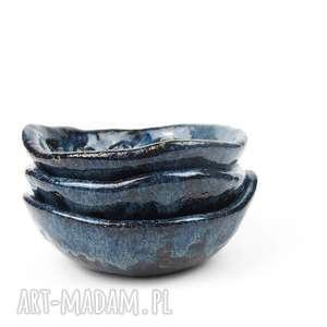 miseczki 3 szt granatowe ceramiczne, ceramika, miseczki