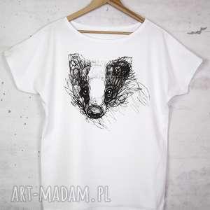 bluzki borsuk koszulka bawełniana biała z nadrukiem s/m, koszulka, bluzka