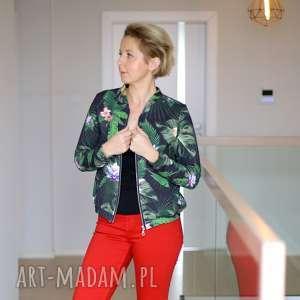 kurtka bomberka w zielone kwiaty, damska z suwakiem, wzorzysta bluza