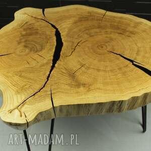 stolik kawowy plaster drewna dąb, loft, design, żywica, industrialny