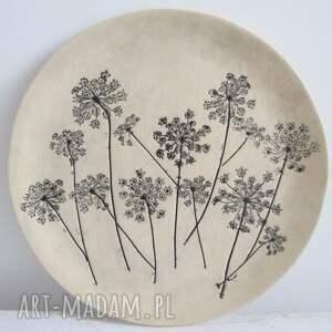 ceramika patera z roślinami baldachami, dekoracyjna, ceramiczna, prezent
