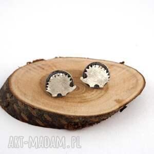 srebrne kolczyki jeżyki, kolczyki, sztyfty, srebro, jeże, natura, mini