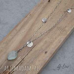 Akwamaryn z pastylkami. Srebrny naszyjnik, akwamaryn, srebro, długi