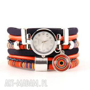 zegarek-bransoletka w stylu boho, granatowo-pomarańczowy, zegarek bransoletka