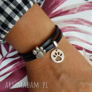 handmade bransoletka skóra magnetoos dual paw charms black