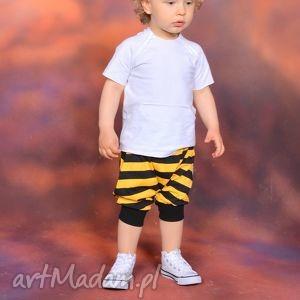 krótkie spodenki pumpy czarno-żółte, bawełna, shorty, lato, kieszenie