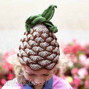 czapka ananas, dziecko, handmade, wiosna, owoc, włóczka