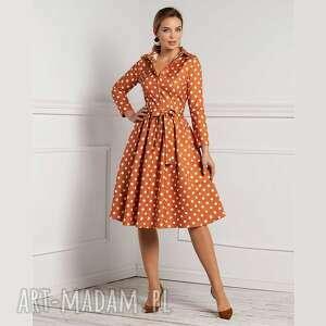 sukienka sabina midi stivenia, grochy, midi, szmizjerka, rozkloszowana