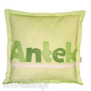 poduszka antek - poduszka, filc, imię, koronka, kropki, bawełna