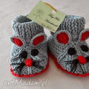 hand-made buciki dziecięce - myszki szaro-czerwone
