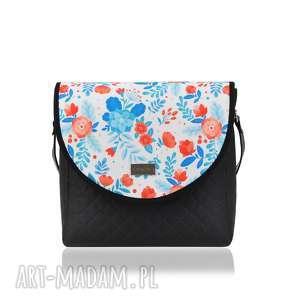 TOREBKA PURO 1723 BLUE FLOWERS, puro, klapkomania, kwiaty, pikowana, lekka