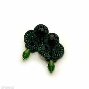 zielone kolczyki sutasz, sznurek, eleganckie, wiszące, wieczorowe, sztyfty