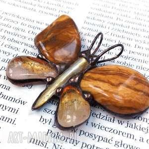 Wisiorek: Motyl w beżowej tonacji, motyl, jaspis, cytryn, na-szyję, kamienie