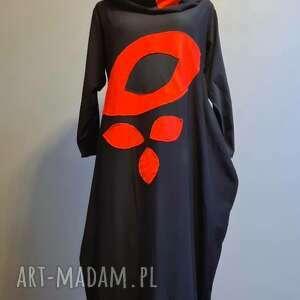 sukienka z liśćmi, maxi sukienka, dzianinowa, boho, etno, oversize