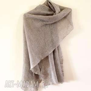 klasyczny lniany szal w naturalnym kolorze, naturalny, lniany, szal, prezent