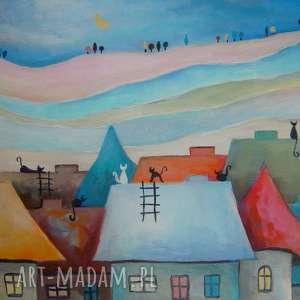 obraz na płótnie - wesołe miasteczko kotów 30/40 cm, abstrakcja, miasteczko